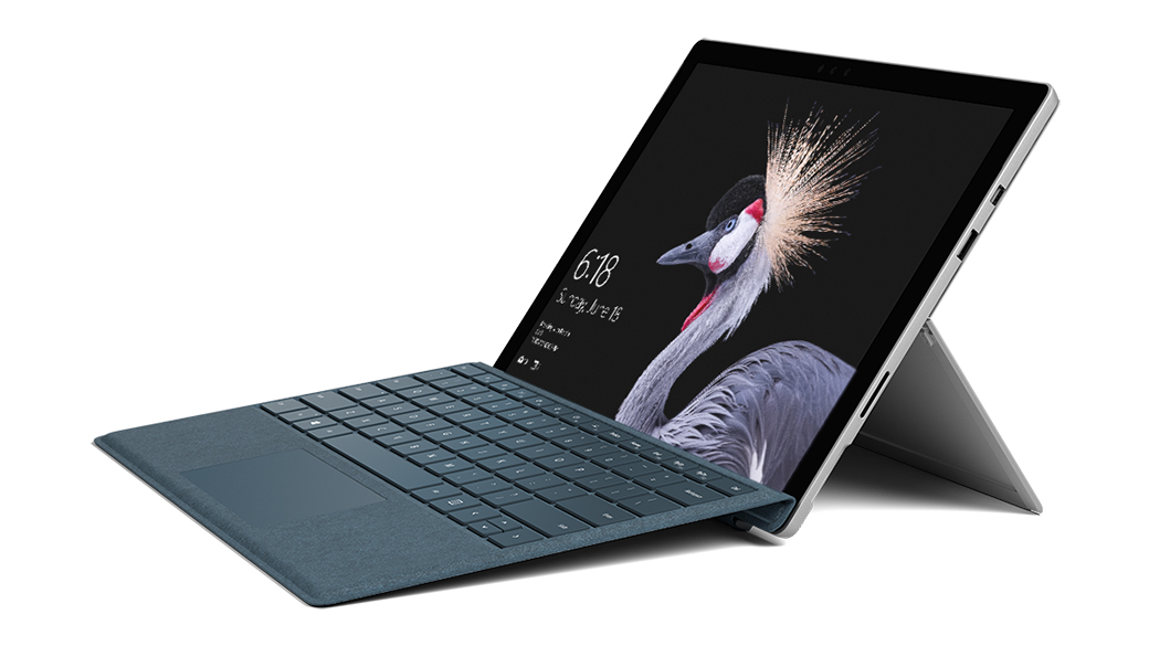 Surface Pro in Laptop Mode with kickstand open and Signature Type Cover