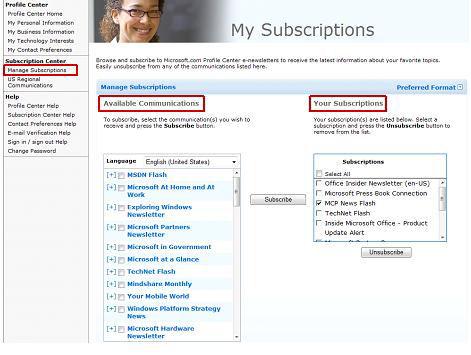 My Subscriptions screenshot