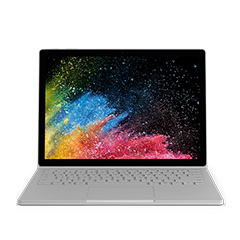 Surface Book 2 with start screen in laptop mode.