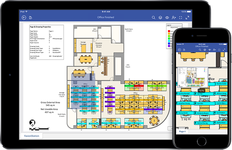 iPad and iPhone displaying an assembly diagram in Visio