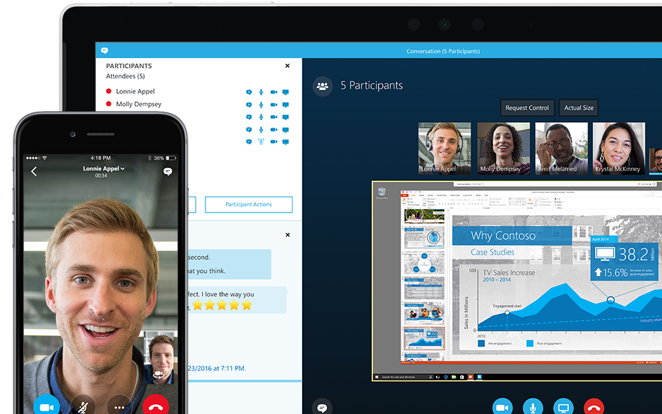 Corner of a laptop screen displaying a Skype for Business meeting in progress with list of participants