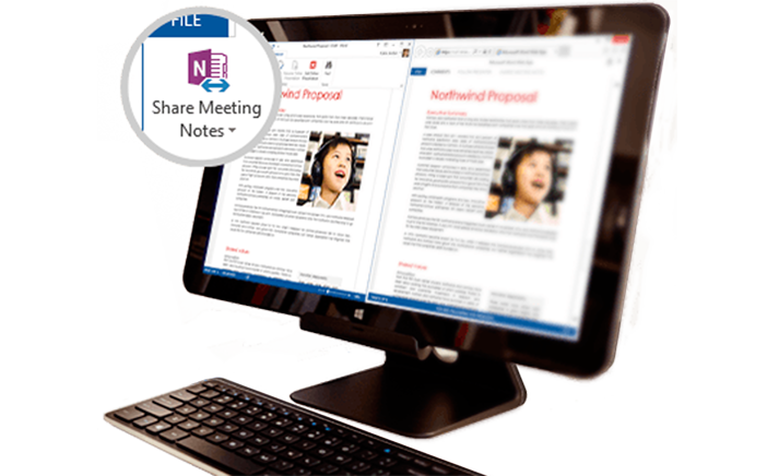 A surface book with shared meeting content displayed.