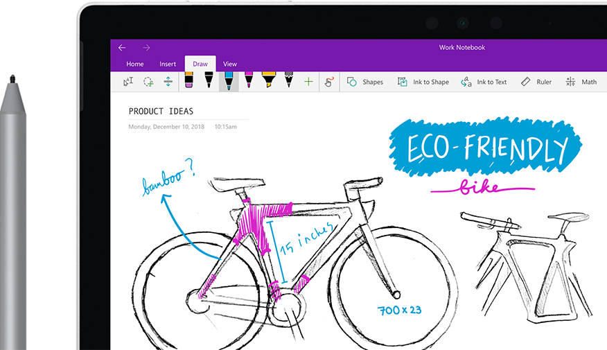 A digital pen sketching an image of a bike called 'Eco bike' on a tablet computer.