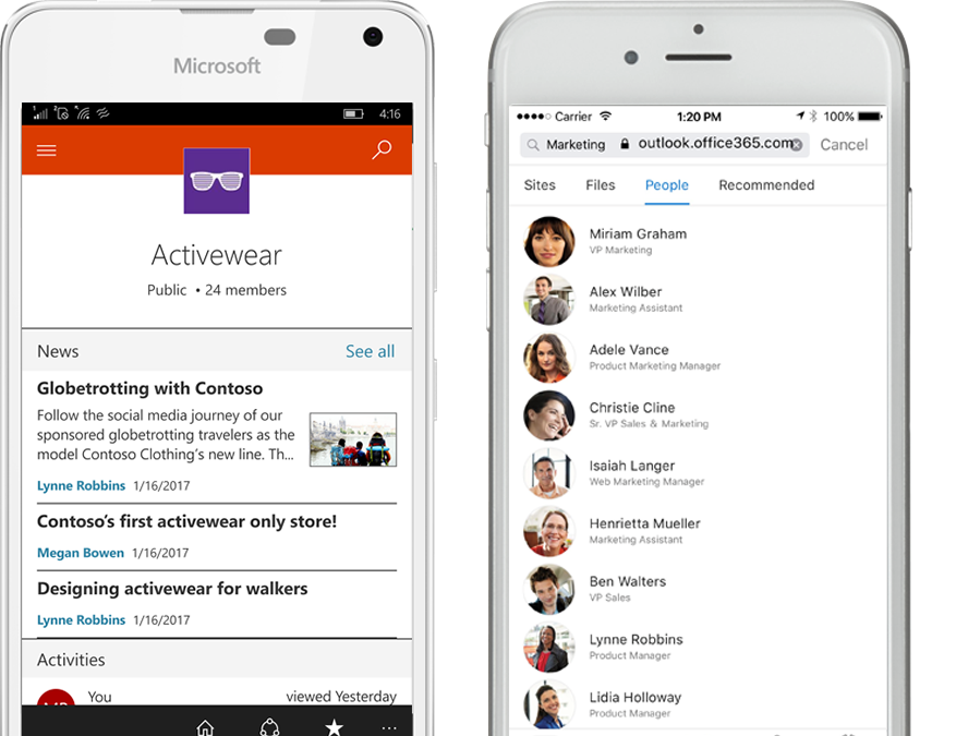 Two smart phones running the SharePoint mobile app