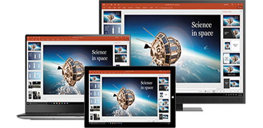 A desktop monitor, laptop, and tablet showing a presentation about science in space, learn about portable productivity with Office desktop and mobile apps