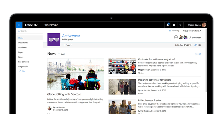 a SharePoint team site on a tablet PC