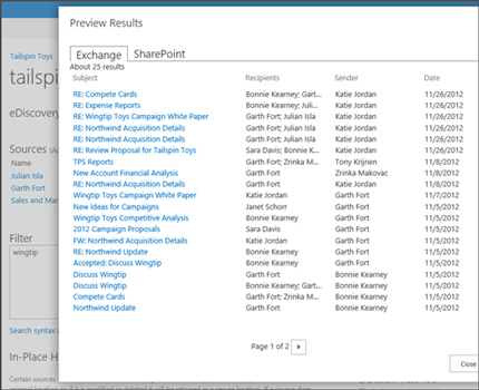 Close-up of the Preview Results page for a search in Exchange Online.