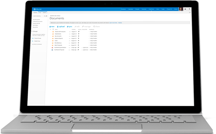 A laptop showing a list of documents in OneDrive for Business.