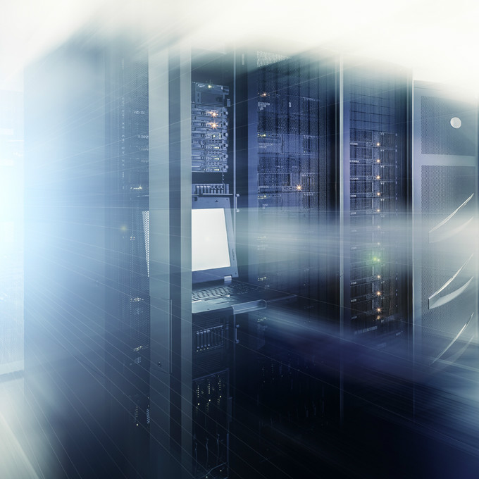 Server data center with white blurred framing