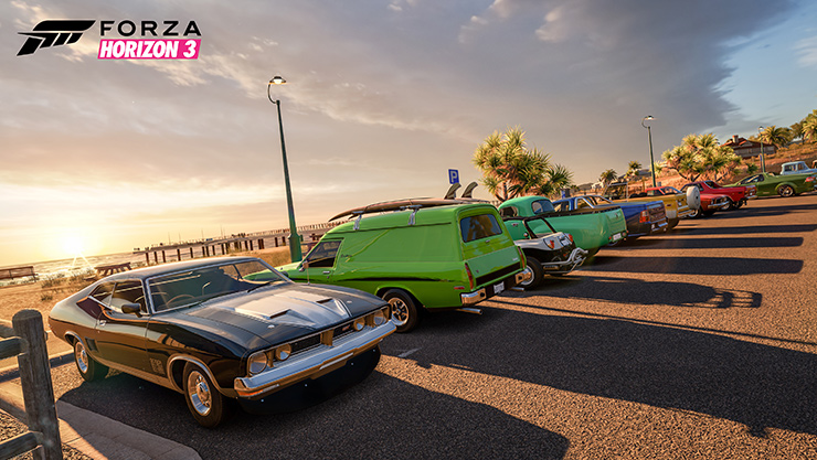 Game art from Forza Horizon 3 with two cars racing
