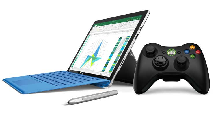 Image of Surface, Surface pen, and Xbox controller.
