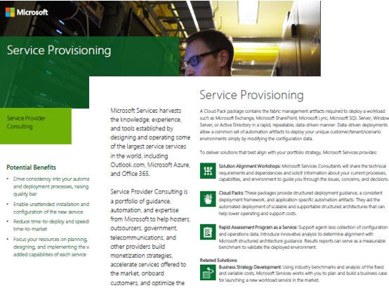 Service Provisioning Datasheet