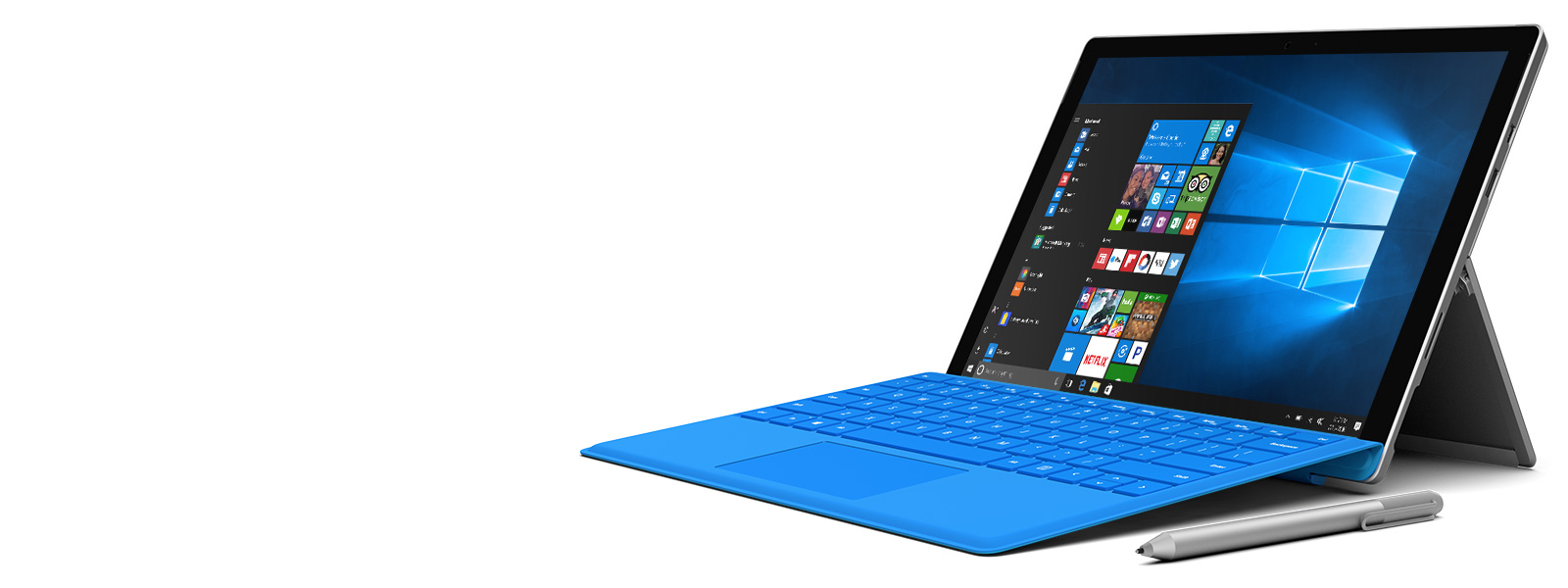 Surface Pro 4 with Surface Pen next to it and a Windows 10 start menu open on screen