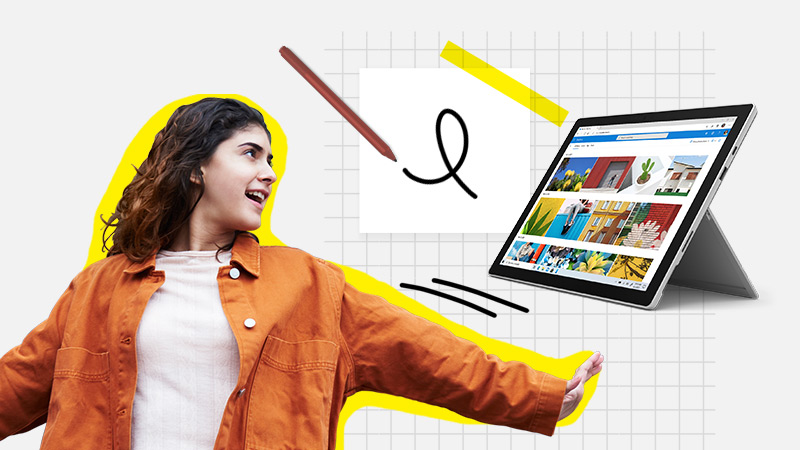 Student with a Surface Pen and Surface Pro computer with kickstand open