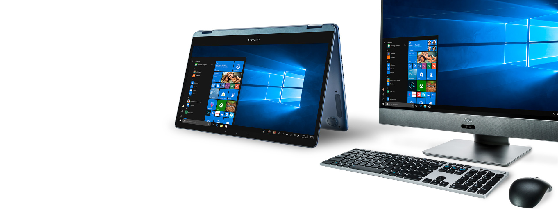 A Windows 10 2-in-1 computer with the keyboard partially flipped behind the screen for tablet usage displaying a Windows 10 start screen. It is sitting next to a Windows 10 all-in-one computer showing a start screen.