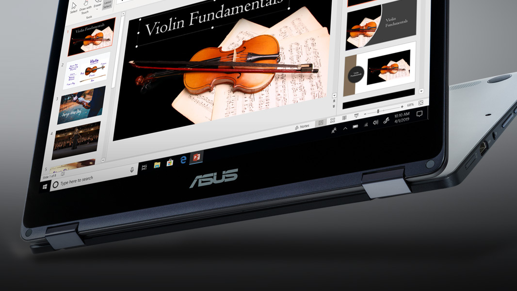 An ASUS Windows 10 computer showing a PowerPoint presentation on screen