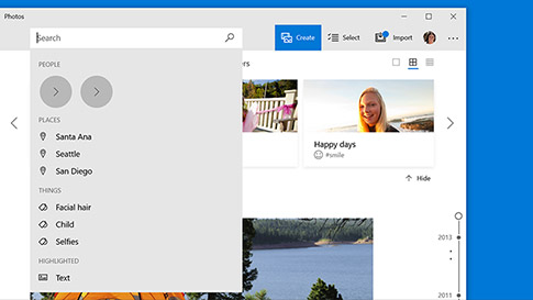 Microsoft photos open showing search functionality