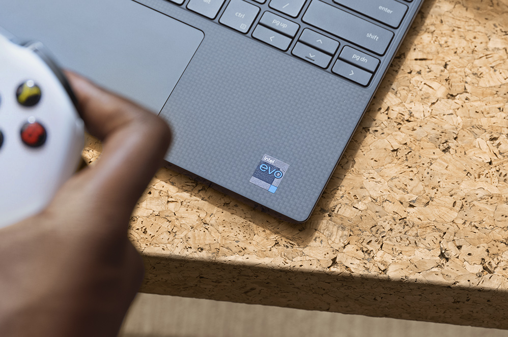 A closeup a PC, highlighting the Intel Evo badge