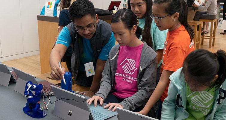 Robotics camp at Microsoft Store