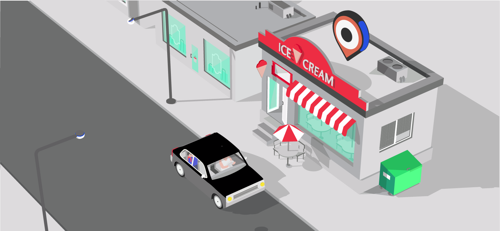 Car driving  by an ice cream store
