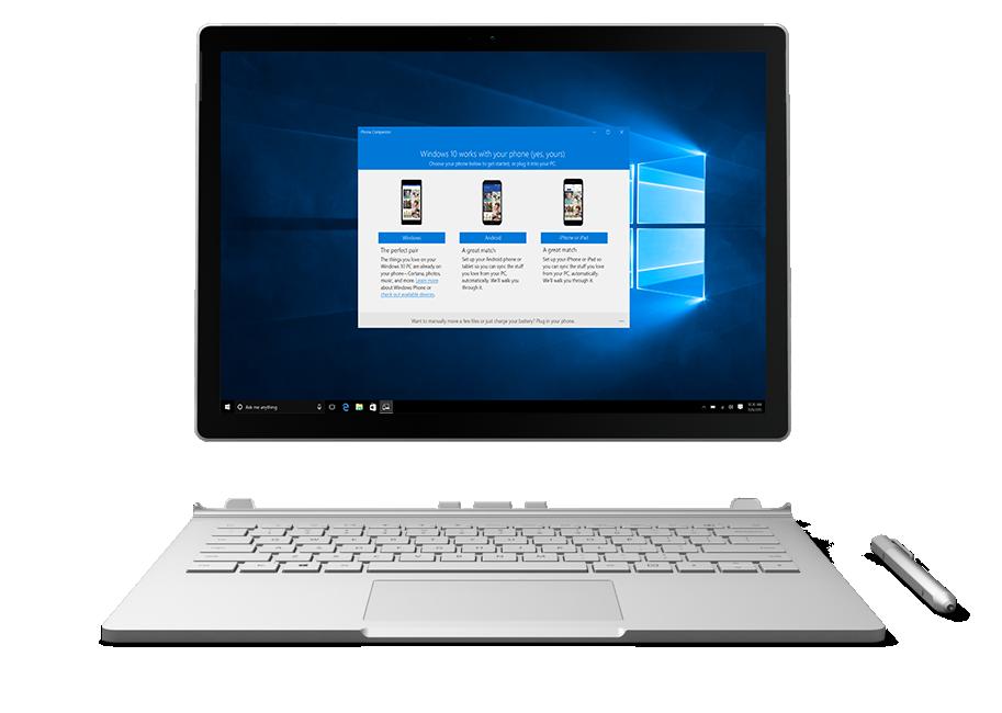 Surface displaying Windows 10 personal computing