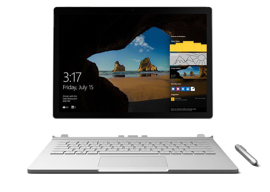 Surface displaying Windows 10 Productivity features