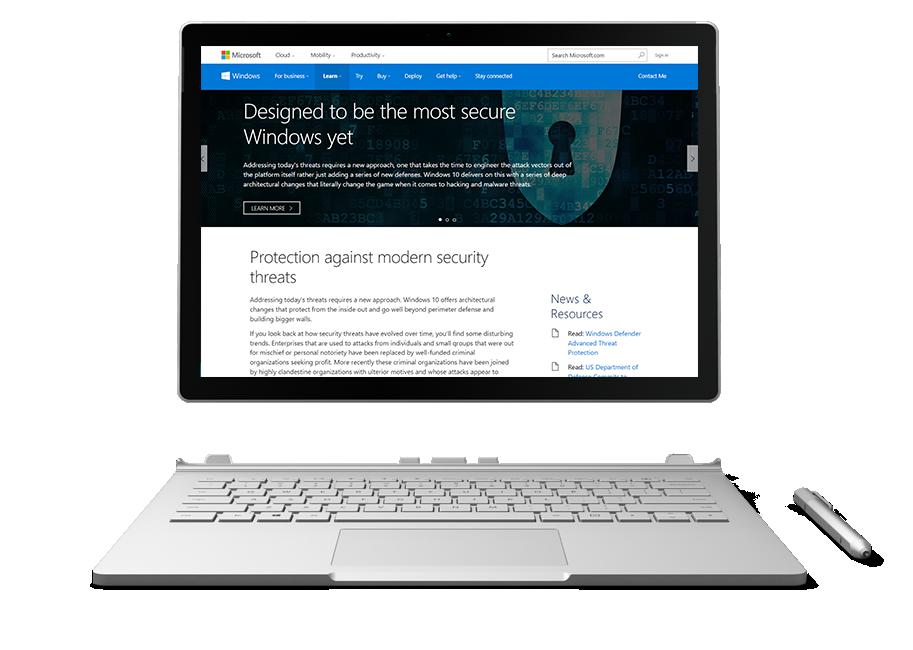 Surface displaying Windows 10 Security