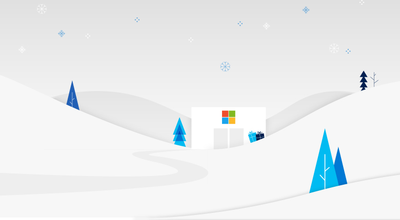 Illustration of Microsoft Store with holiday theme.
