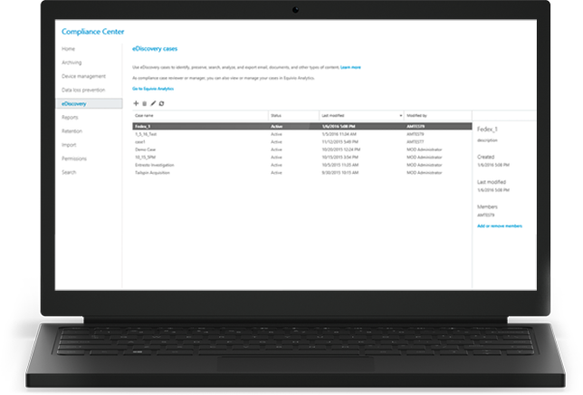 A laptop displaying Office 365 eDiscovery cases in the Compliance Center