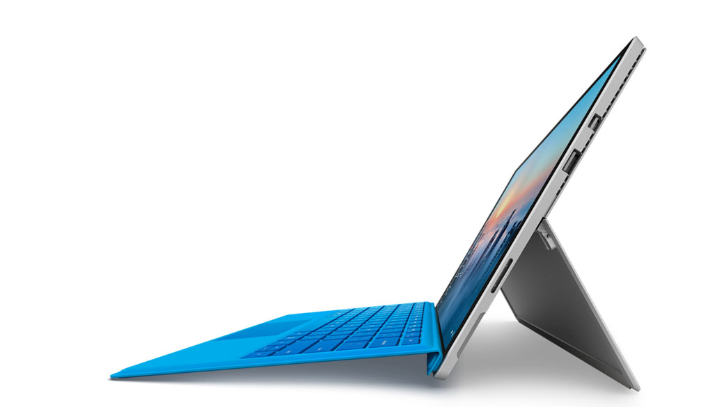 Surface Pro 4 as seen from the side with kickstand out