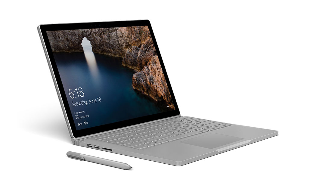 Surface Book with Surface Pen, facing right