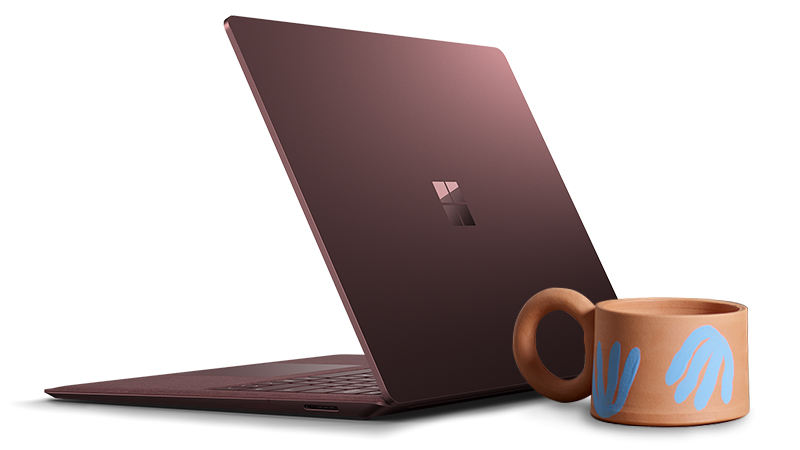 Surface Laptop product image with one of Kenesha's ceramic designs.