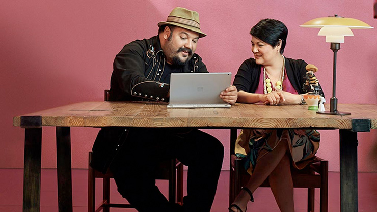 Jorge and Sandra using Surface Book