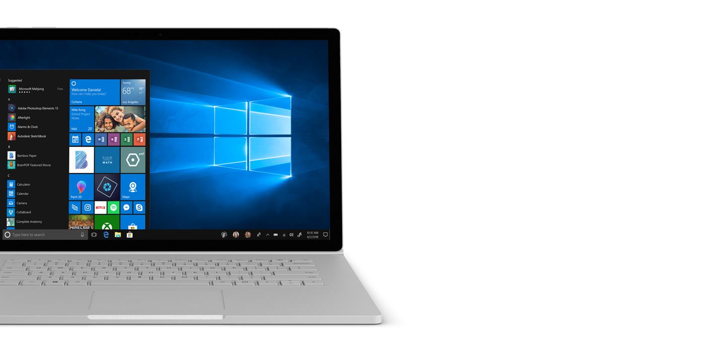 Laptop with Windows 10 Start screen