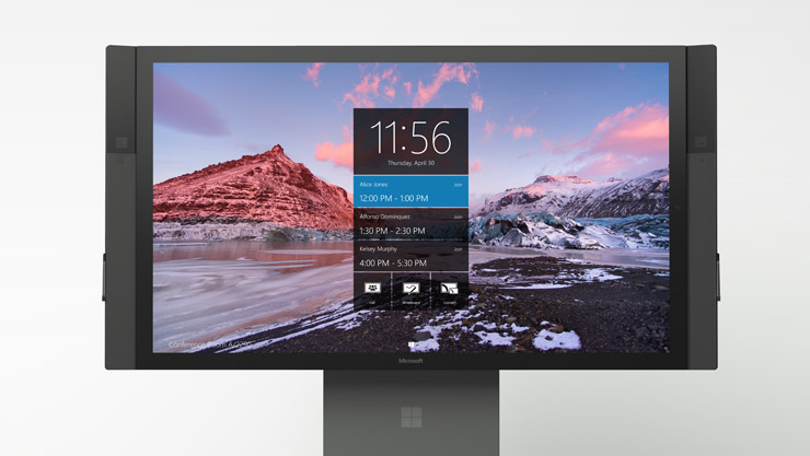 Surface Hub on stand as seen from the front
