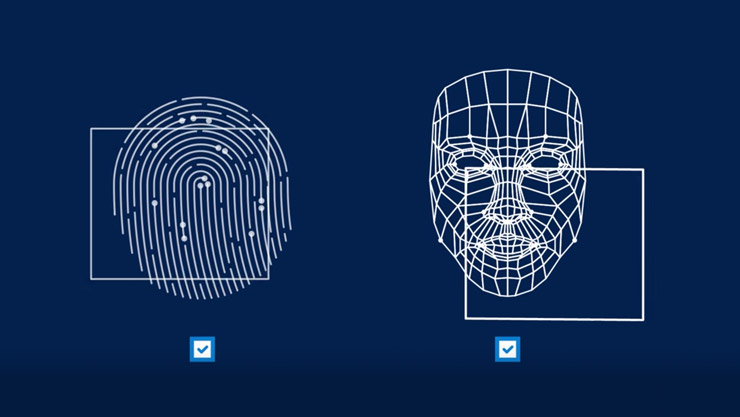 Fingerprint and facial recognition visualizations are shown next to checkboxes