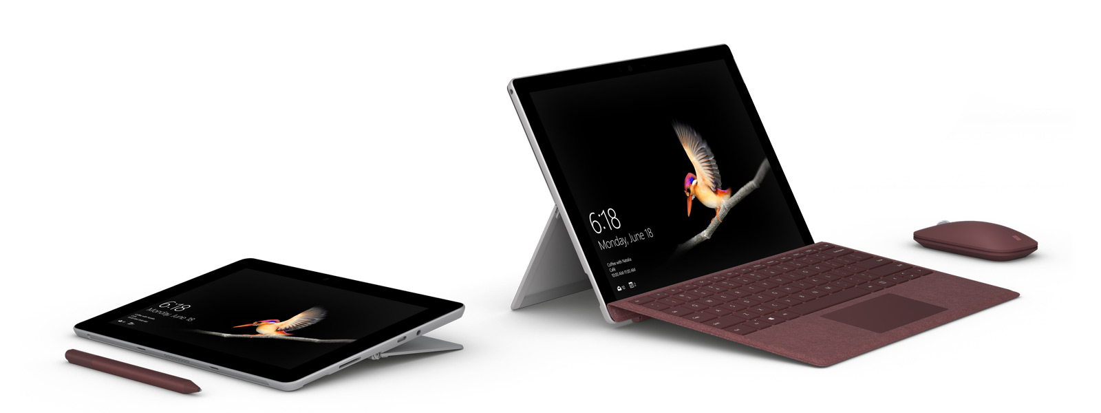 Surface Go  in laptop mode side by side to Surface Go in tablet mode