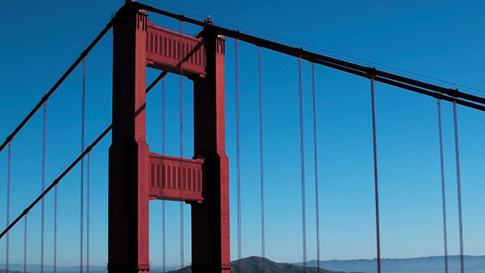 Sunset, Golden Gate Bridge in San Francisco, California