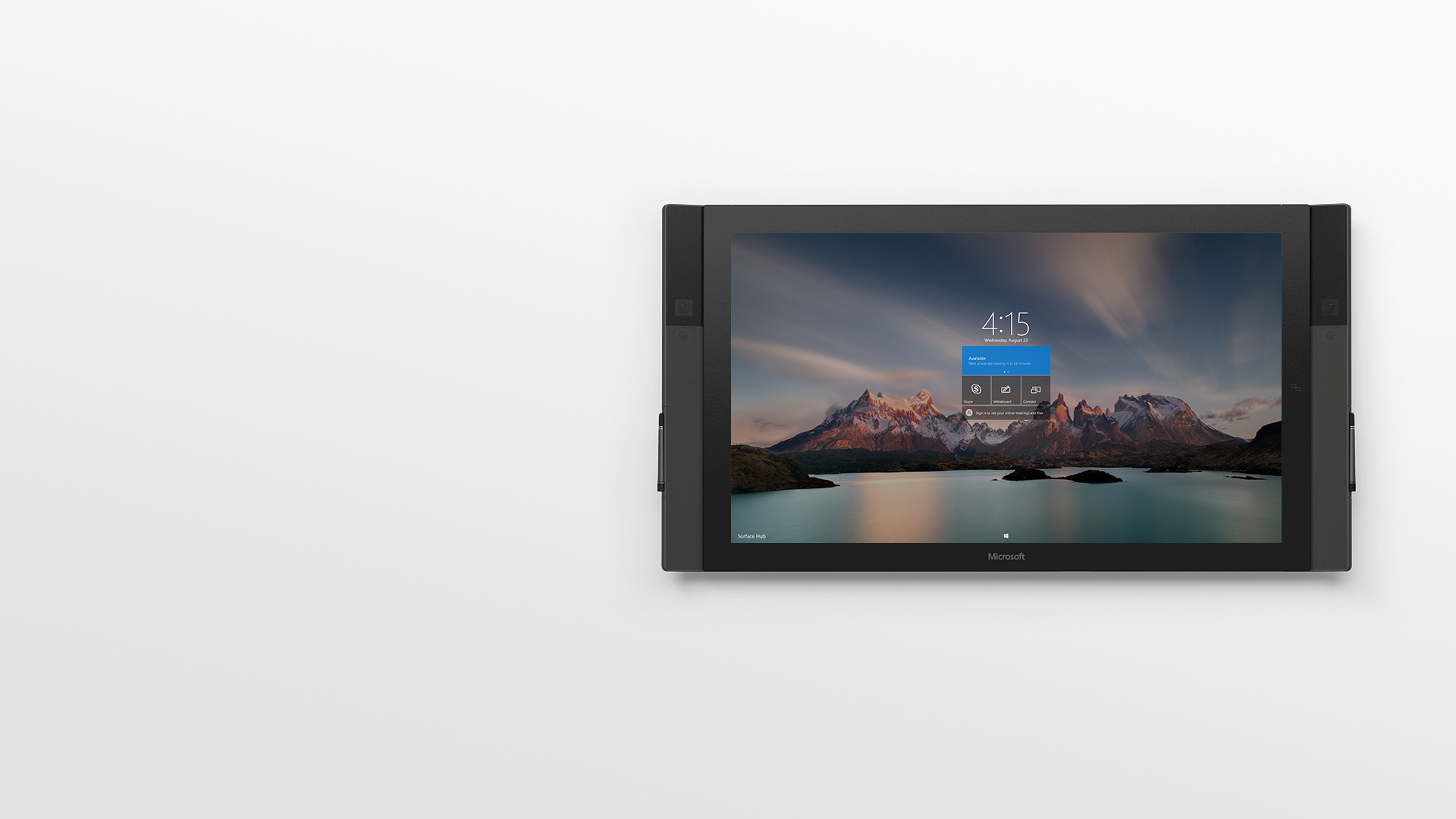 Surface Hub with start screen.