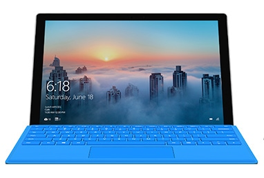 Microsoft Surface Pro 4 with Windows 10 start screen