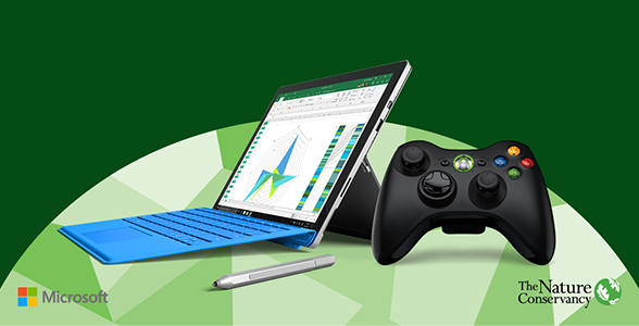 Surface device, pen, and Xbox controller.