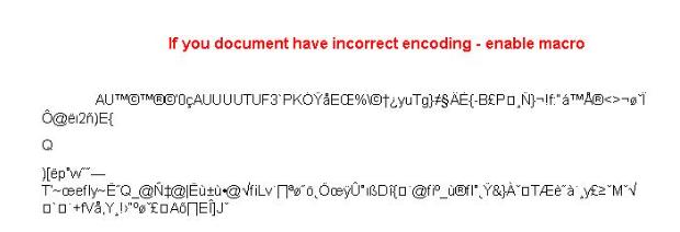 Enable macro incorrect encoding
