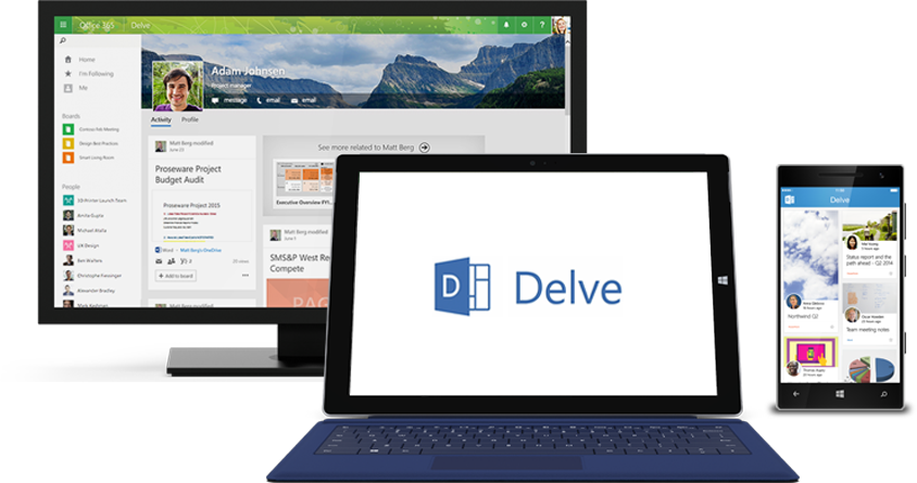 Office Delve displayed on the screens of a PC, tablet, and phone