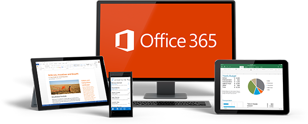 A PC, phone, and two tablets featuring Office 365.