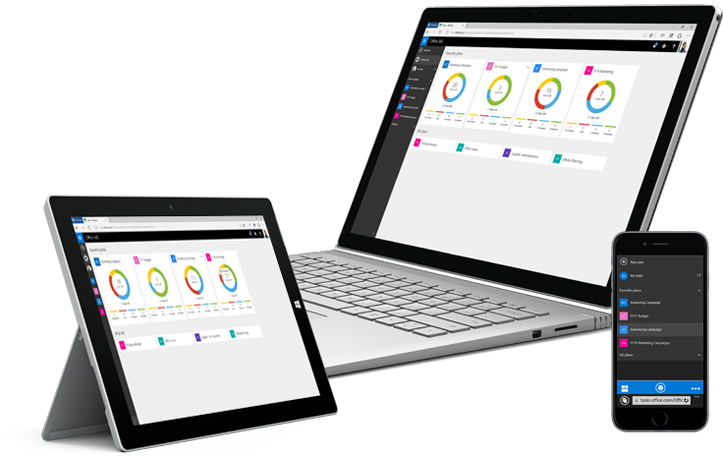 A tablet, desktop PC, and smartphone showing Microsoft Planner in use to organize teamwork.