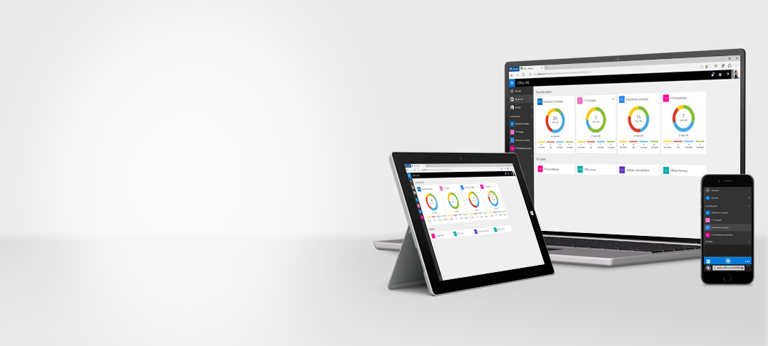 A tablet, desktop PC, and smartphone showing Office 365 Planner in use to organize teamwork.