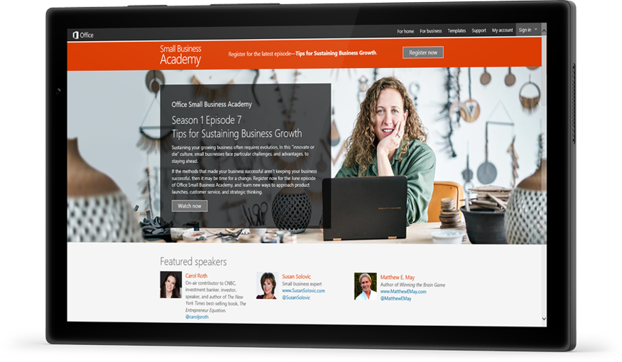 A tablet featuring an episode of Office Small Business Academy