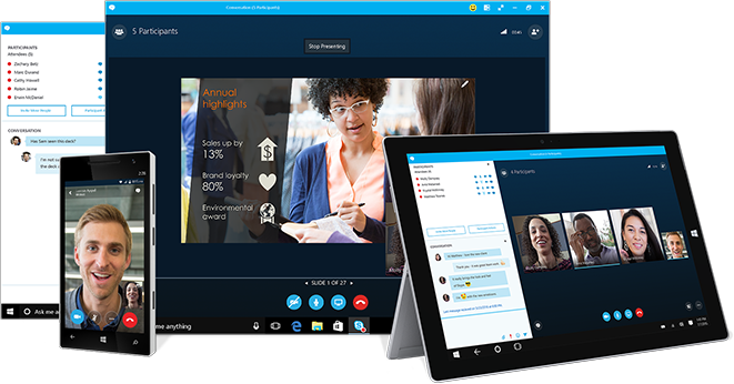 A Skype for Business IM window alongside a computer, tablet, and phone featuring Skype for Business