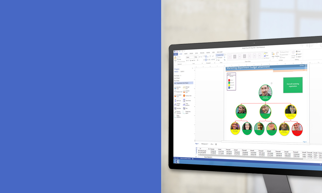 A desktop monitor showing a diagram in Visio 2013.