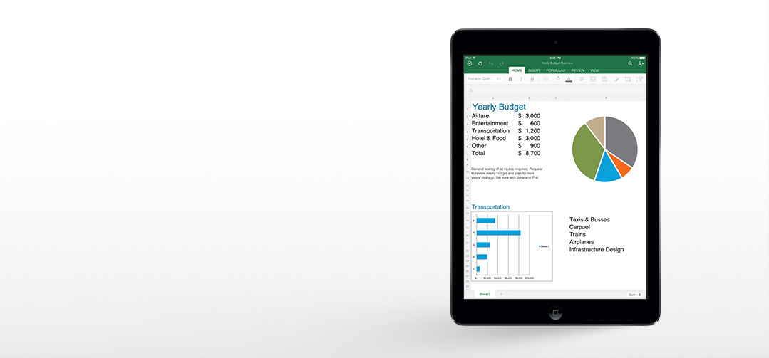 Excel on iPad